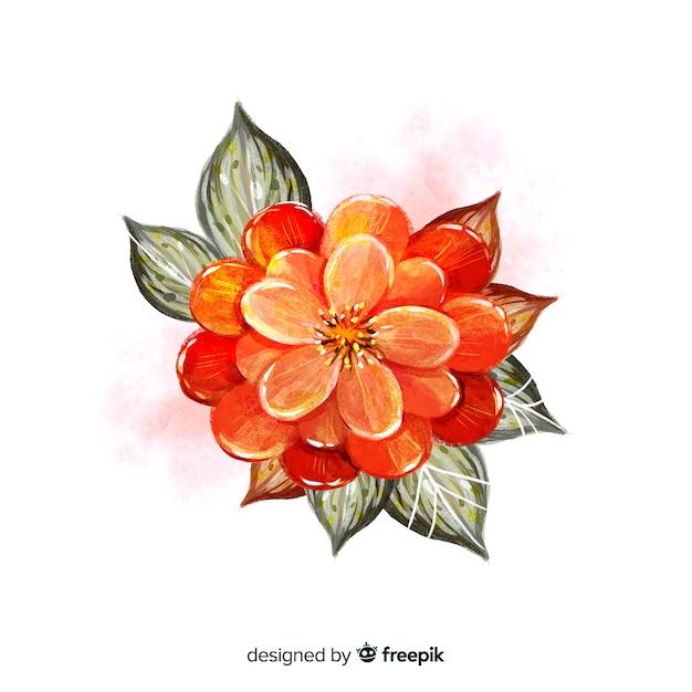 黒い葉とトップビュー水彩花 無料ベクター