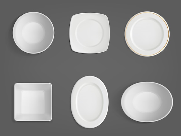 Top view of white different shapes bowls Free Vector