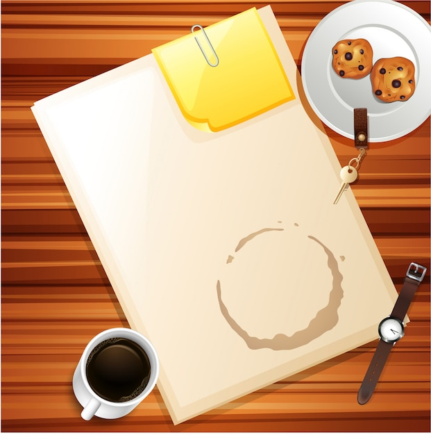 A top view of work space Free Vector