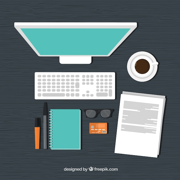 Top view of a workplace Free Vector