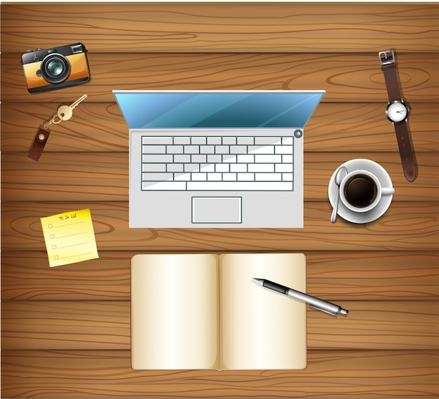 Top view of workspace table Free Vector