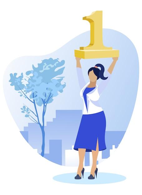 Top woman worker holding golden figure one aloft Premium Vector