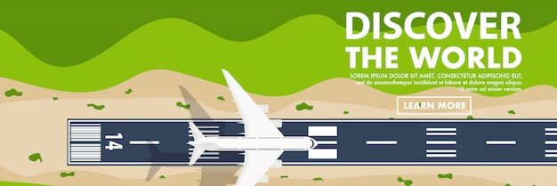 Above topdown view of the airport runway Premium Vector