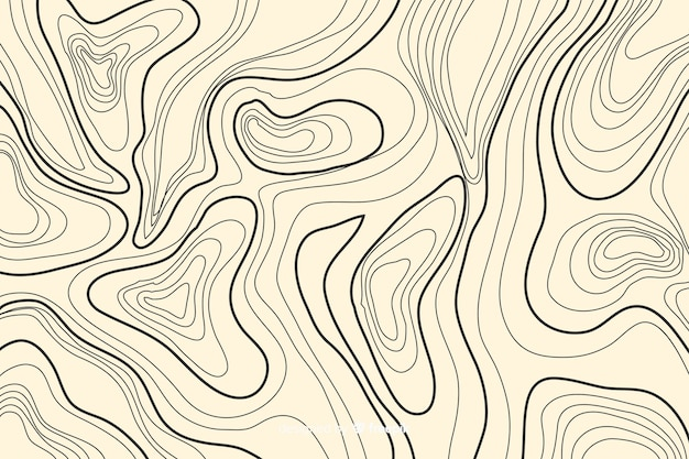 Topographic lines background on salmon colour shades Free Vector
