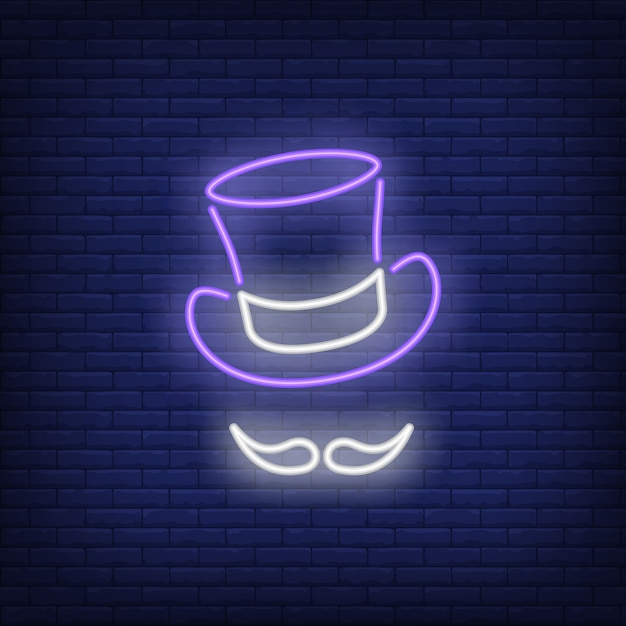 Topper hat and moustache neon sign Free Vector