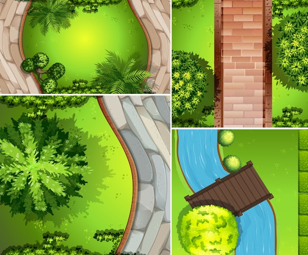 topview of park with roads and canal vector premium download