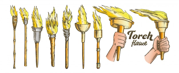 Torch burning collection set Premium Vector