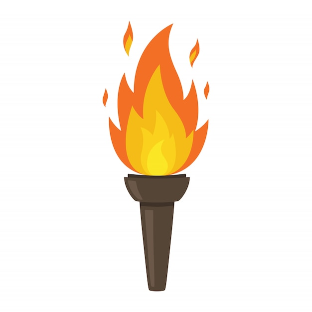 Torch isolated on white background. fire. symbol of olympic games. flaming figure. Premium Vector
