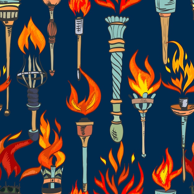 Torch sketch seamless pattern Free Vector