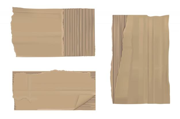 Рваная картонная бумага. коричневые рваные рваные листы Бесплатные векторы
