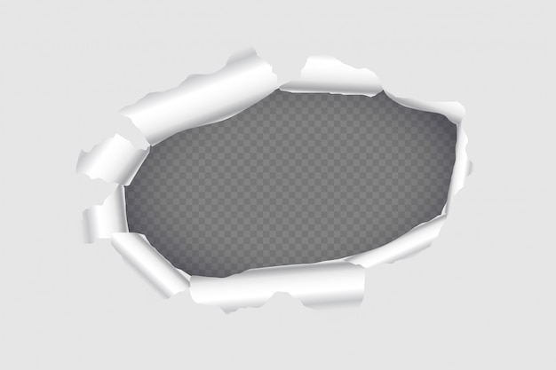 Torn hole page paper sheet background design Free Vector