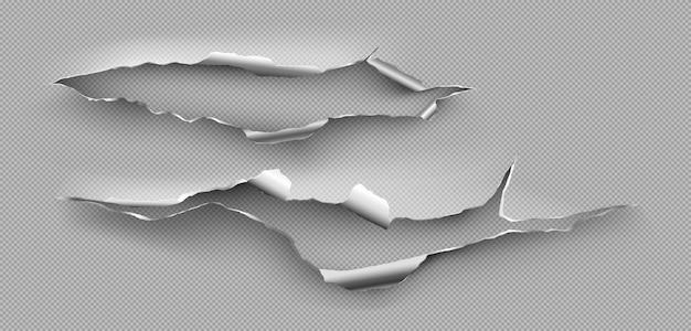 Foro strappato, crepa irregolare in lamiera d'acciaio. modello realistico di bordi strappati di metallo rottura isolato su sfondo trasparente. pagina metallica danneggiata da taglio o esplosione Vettore gratuito