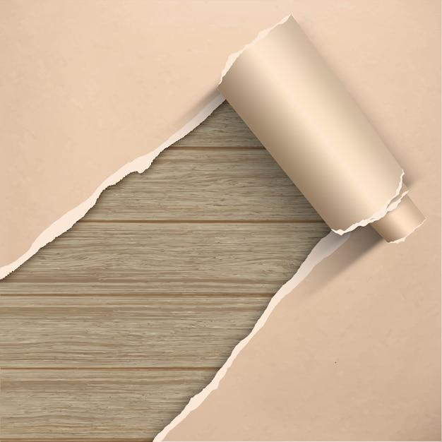 Сорванная старая бумага ремесла пергамента grunge на деревянной стене планки. Premium векторы