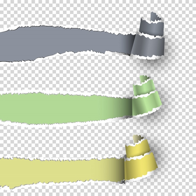 Torn paper banners with space for text Premium Vector