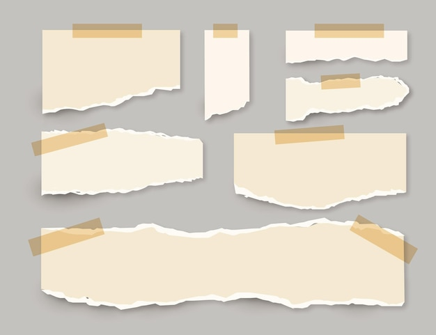 Torn paper collection with tape concept Free Vector
