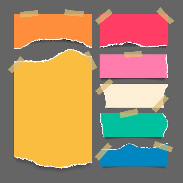 Torn paper collection with tape design Free Vector