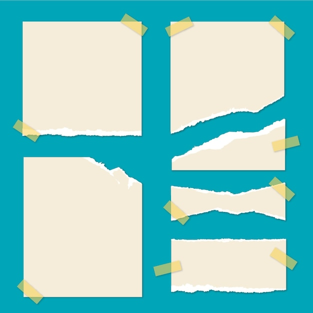테이프로 찢어진 된 종이 컬렉션 프리미엄 벡터
