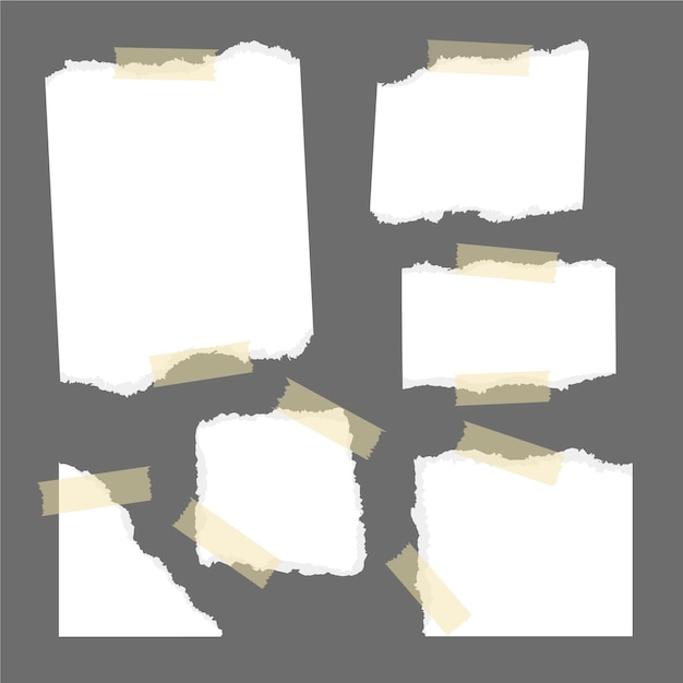 Torn paper collection with tape Premium Vector