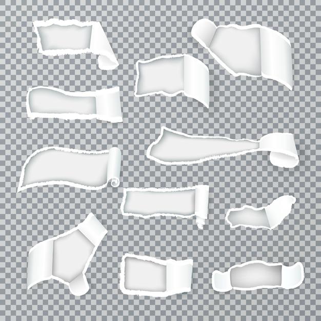 Рваные завитки бумаги, обнажающие внутренний слой через отверстия различной формы коллекция реалистичных изображений Бесплатные векторы