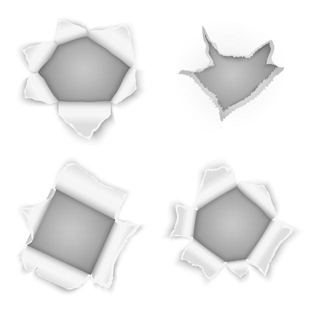 Векторная коллекция рваных бумажных отверстий. элемент дизайна края, иллюстрация разрыва скручиваемости Бесплатные векторы