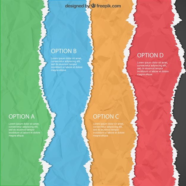 Torn paper infographic Free Vector