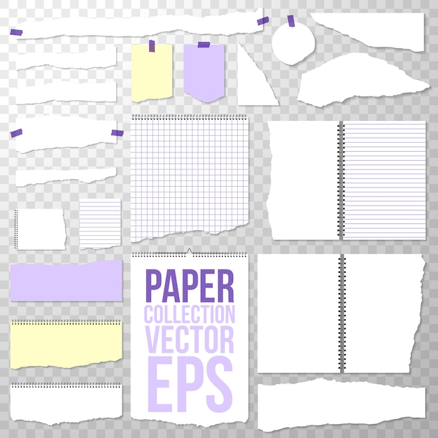 Torn paper pieces from spiral bound notebook. clean or blank pages isolated on transparent. torn off binder papers Free Vector
