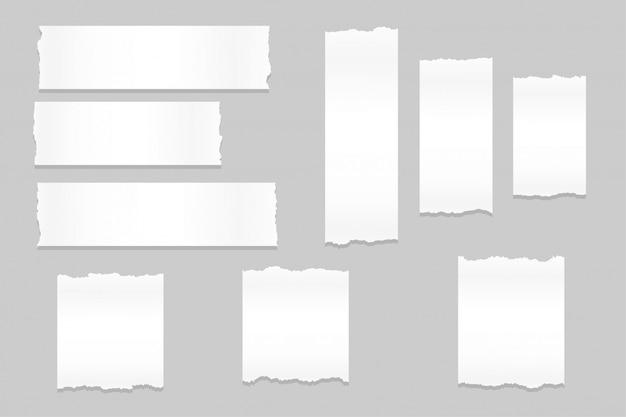 Рваные листы бумаги большой набор дизайн Бесплатные векторы