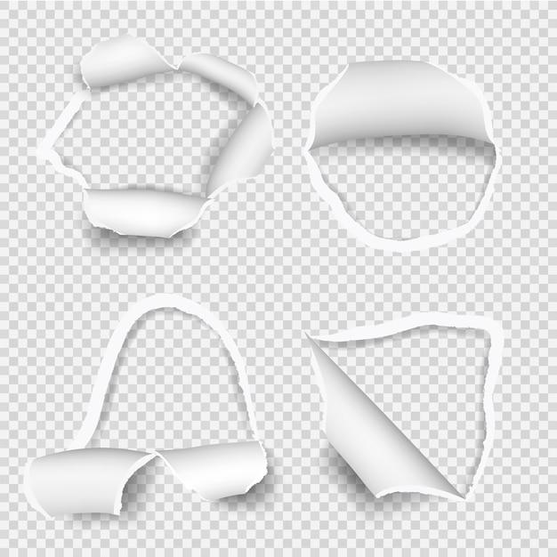 Рваные бумажные листы. набор отверстий для рваной бумаги Premium векторы