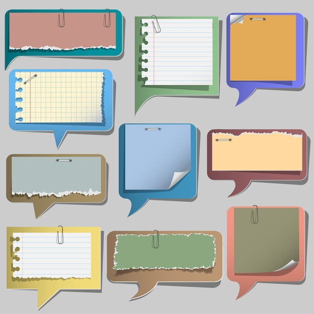 Torn paper speech bubbles Premium Vector