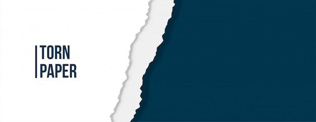 Carta strappata strappata di colore bianco e blu Vettore gratuito