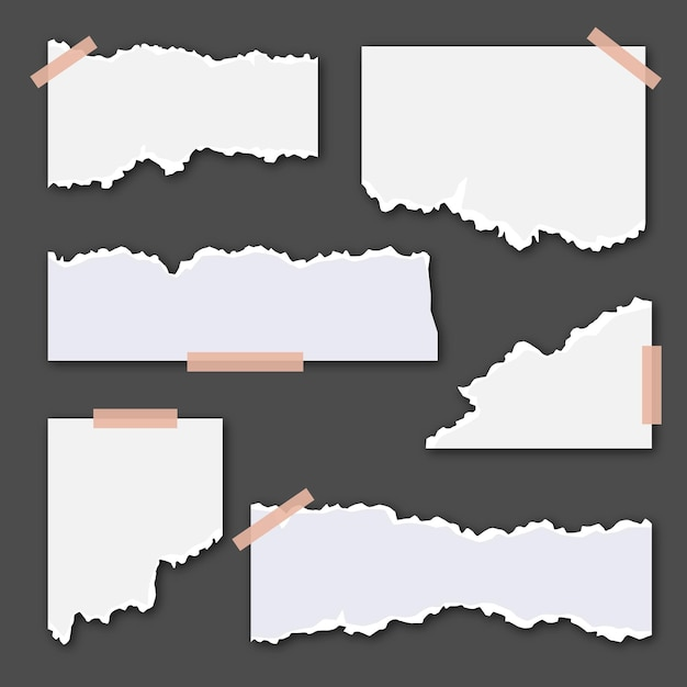 Torn white papers with tape on dark background Free Vector