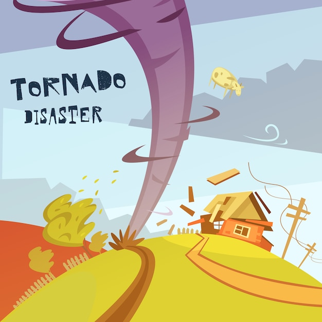 Иллюстрация катастрофы торнадо Бесплатные векторы