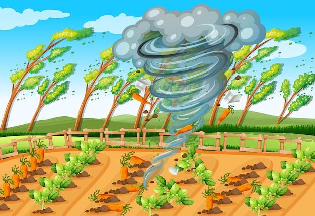 Tornado in farm scene Premium Vector