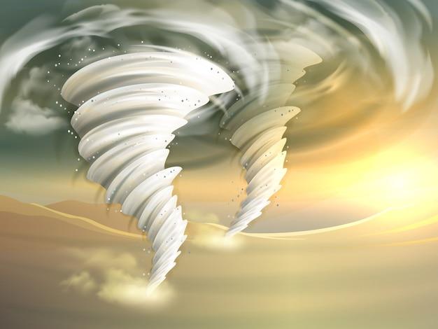 Иллюстрация торнадо вереницы Бесплатные векторы