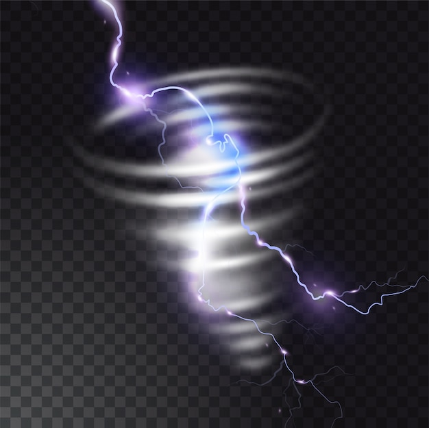 Tornado with lightning  illustration of realistic thunderbolt light flash in twister hurricane. wind cyclone vortex in storm weather. Premium Vector