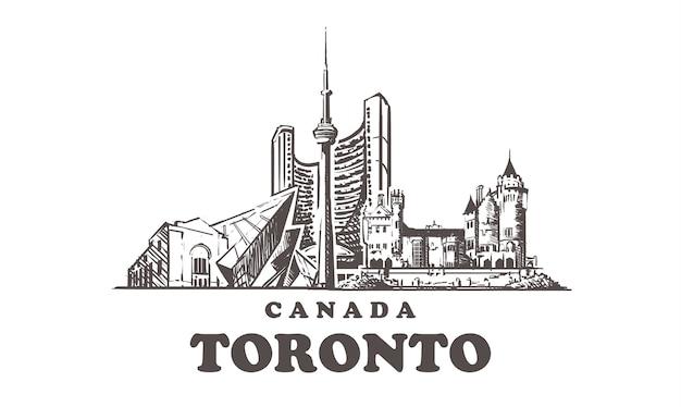 Городской пейзаж торонто, канада Premium векторы