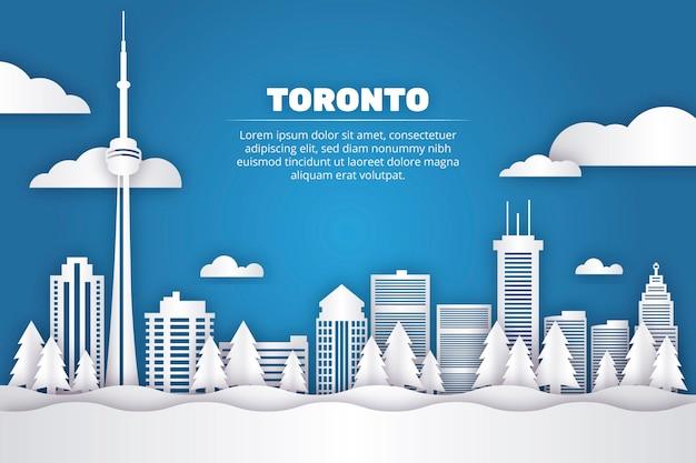 Toronto landmarks skyline in paper style Premium Vector