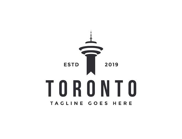 Шаблон вектора значка логотипа башни торонто на белом фоне Premium векторы