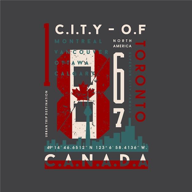 トロント、抽象的なカナダの旗のグラフィックタイポグラフィイラストプリントtシャツ Premiumベクター