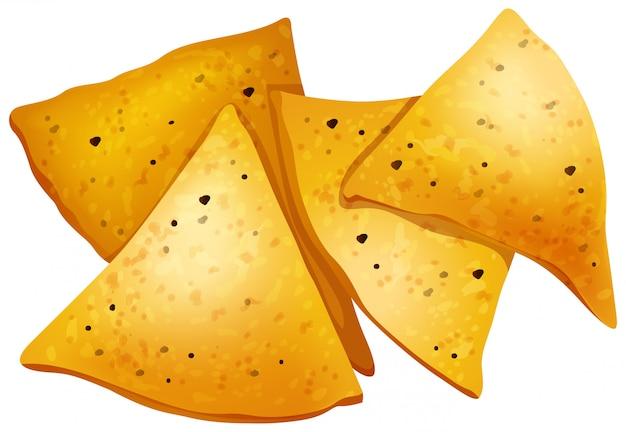 Tortilla chips on white background Premium Vector