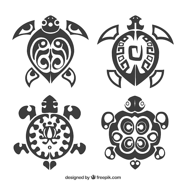 Tortoise tattoo collection Free Vector