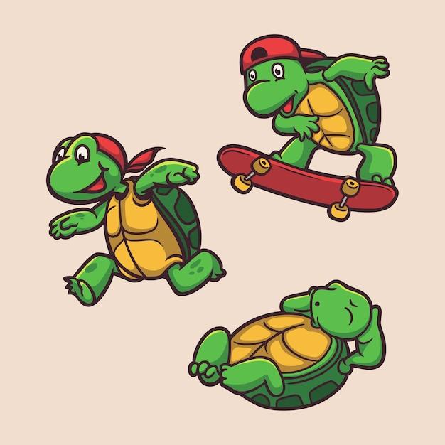 Набор иллюстраций талисмана с логотипом черепахи, скейтбординга и спящего животного Premium векторы