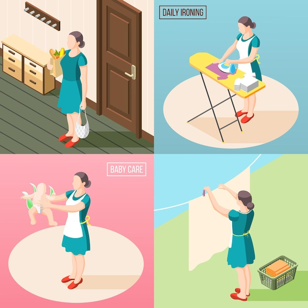 Tortured housewife 2x2  concept set of routine daily duties so as baby care laundry ironing isometric Free Vector