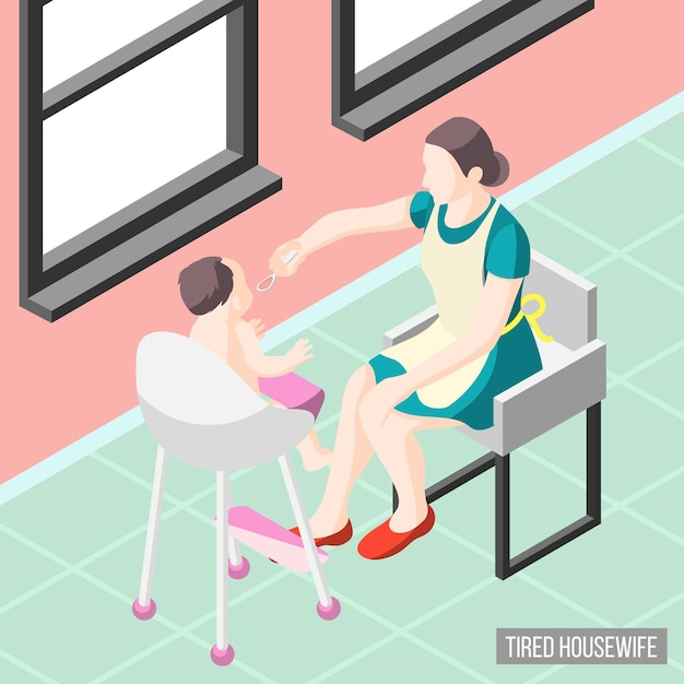 Tortured housewife isometric  with mother nursing her little child Free Vector