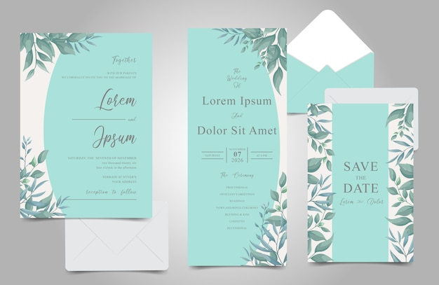 Элегантная листва tosca frame свадебные приглашения набор Premium векторы