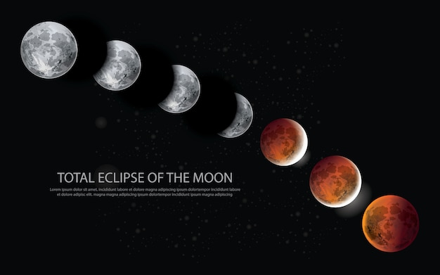 Total eclipse of the moon vector illustration Premium Vector