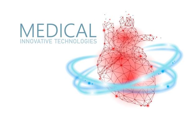 Total healthy heart beats 3d medicine low poly concept. Premium Vector