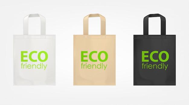 Set di borse ecologiche shopping tote Vettore gratuito