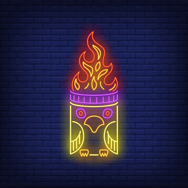 Totem pole with bird and fire flame neon sign Free Vector