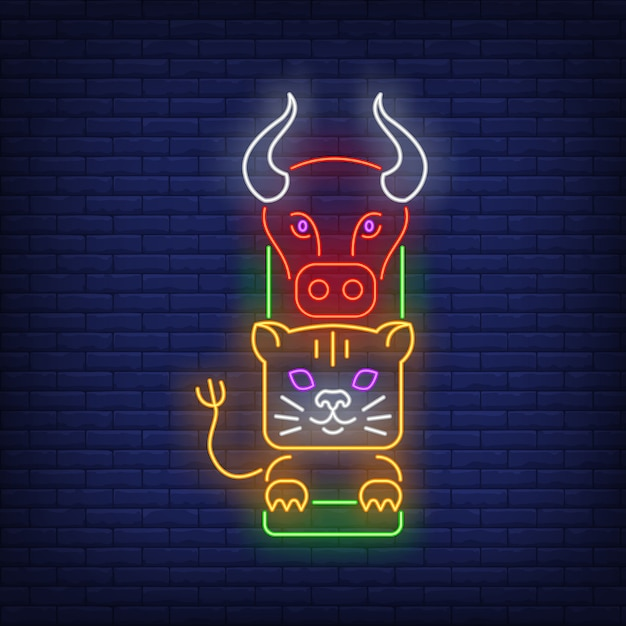 Totem pole with buffalo and tiger neon sign Free Vector